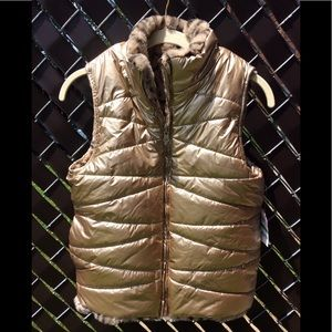NWT KIDS GOLD/FAUX FUR REVERSIBLE PUFFER VEST